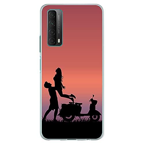 Funda Transparente para [ Huawei P Smart 2021 / Y7A ], Carcasa de Silicona Flexible TPU, diseño: Paisaje con Pareja y Scooter