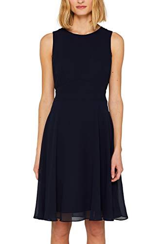 ESPRIT Collection Damen 059EO1E014 Kleid, Blau (Navy 400), Herstellergröße: 40