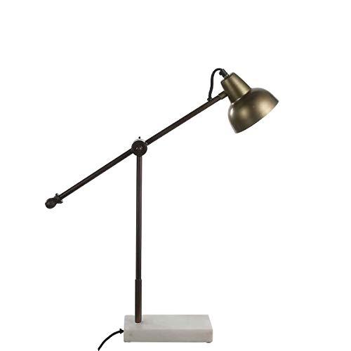 Casa Vivante bureaulamp bureaulamp Vita goudkleur ijzer met marmeren voet - 60 x 12,5 x 58 cm - bureaulamp - tafellamp - bedlampje