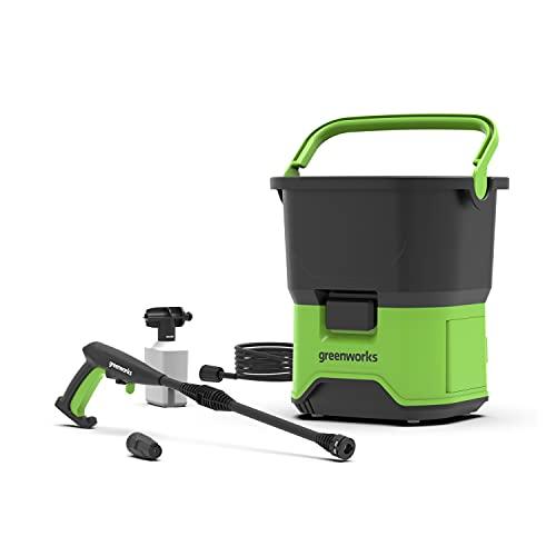 Greenworks Limpiador Alta Presión GDC40 Operado Con Batería (Li-Ion 40 V 650 Watt Poder 70 Bar Presión 300 l/h Flujo 20 ltr. Tanque 6m Manguera Sin Batería y Cargador)