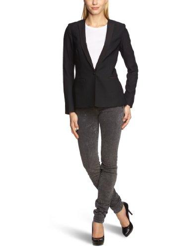 Scotch & Soda Maison Damen Blazer 13210130863 - Blazer with contrast lapel delivery, Gr. 36 (1), Mehrfarbig (90 - black)