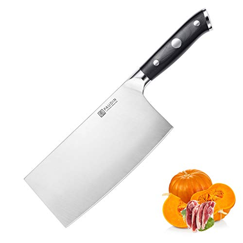 PAUDIN Chinesisches Kochmesser - 17cm scharfes Hackmesser Messer, Superior Deutscher HC Stahl mit G10-Griff, rost- und verschleißfest, leicht zu reinigen