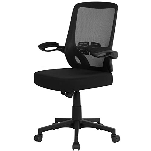 Yaheetech Bürostuhl Schreibtischstuhl Computerstuhl mit klappbaren Armlehnen, Bürodrehstuhl mit Netzbespannung, 360° Drehstuhl