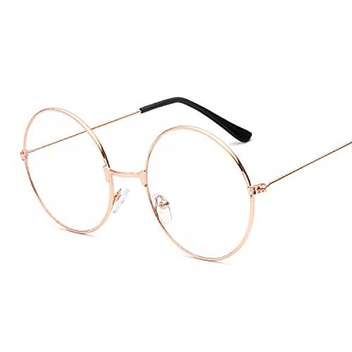 Moda Vintage Retro Metal Frame Clear Lens Gafas Nerd Geek Gafas Gafas Negro De Gran Tamaño Redondo Círculo Gafas, Gold,