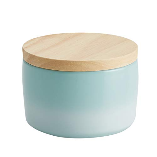 Rachael Ray 47991 Solid Glaze Ceramics Salt and Spice Box with Wood Lid for Seasoning, Cooking, Serving, 9 Ounce, Light Blue Ombre