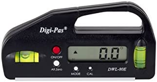 DigiPas DWL80E Pocket Size Digital Level, Electronic Angle Gauge, Protractor, Angle Finder, Bevel Gauge, 0.1°, 4 inch