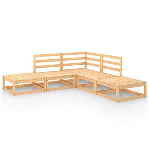 Fest-night Muebles de Jardín | Conjunto de Jardín | Juego de Sofá de Jardín 7 pzas de Madera, Combinación Versátil Conjuntos de Sofas Exteriors