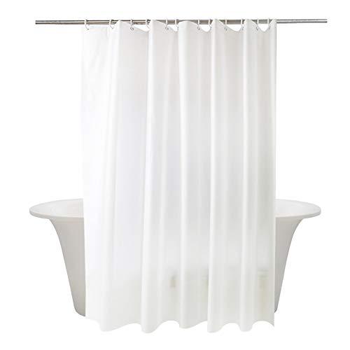 Momony Duschvorhang aus Polyester, massiver weißer Stoff, wasserdicht, schimmelresistent, Textil, weiß, 150 x 180 cm