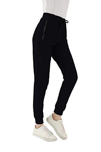 GOLDPKF Yoga-Trainingshose mit hoher Taille für Frauen-Outfits Aktiv tragen Skinny Fit Jogginghose Damen Baumwolle weiche Baseballhose mit Taschen Schwarz XXL 46