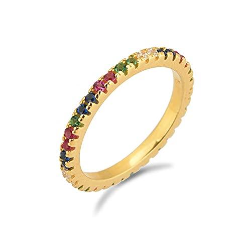 Anillo de arco iris multicolor de plata 925, joyería de fiesta de lujo blanco y negro para mujer, joyería de Rock Punk, Crystal-6_Gold Rainbow