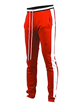 SCREENSHOTBRAND-S41700 Mens Hip Hop Premium Slim Fit Track Pants - Athletic Jogger Bottom with Side Taping-Red-Small