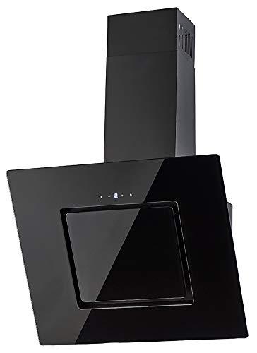 PKM Wandhaube Schwarz | 60cm | Schwarzer Glasschirm | Randabsaugung | Touch Control & LED Beleuchtung | Abluft- und Umluftgeeignet