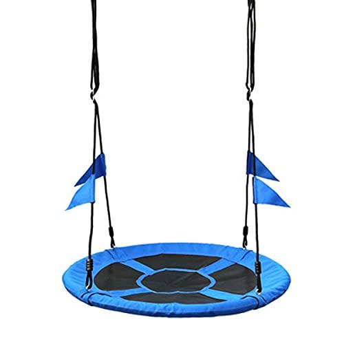 QSWL Hamaca Silla Colgante Columpio Jardín Redondo, Altura Ajustable Nido Colgante Interior Y Exterior, Tela Oxford Niños Y Adultos Carga 150KG (Color : Blue, Size : 180x100cm)