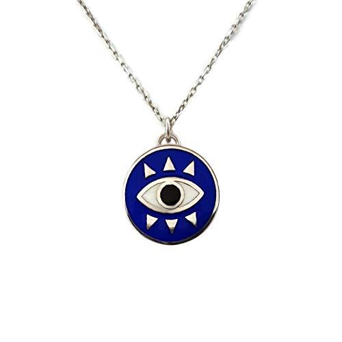MYSTIC JEWELS by Dalia - Collar Redondo de Ojo Para buene Suerte - Plata de Ley 925 Esmaltada en color azul (Plata 925)