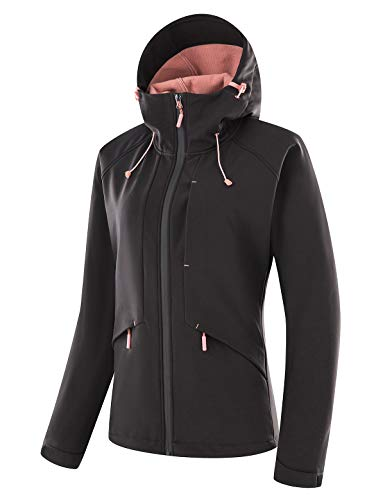 Echinodon Damen Softshell Jacke mit Fleecefutter Funktionsjacke Wasserabeisend Übergangsjacke Outdoor Jacke Wanderjacke Schwarz 2XL