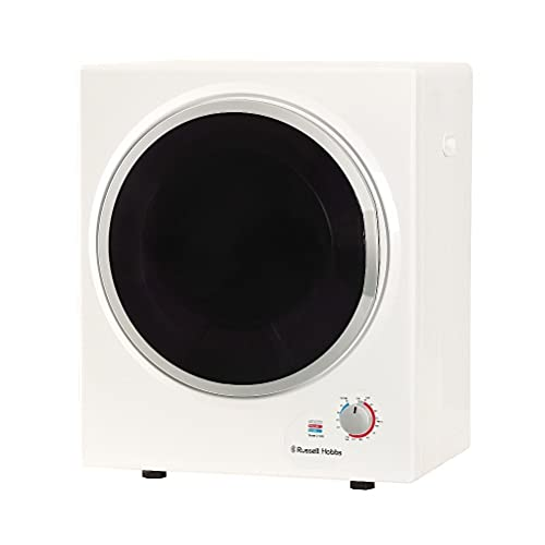 Russell Hobbs RH3VTD800 White 2.5kg Compact Mini Vented Tumble Dryer, Portable, Freestanding Table top Dryer with 3 Heat Settings small