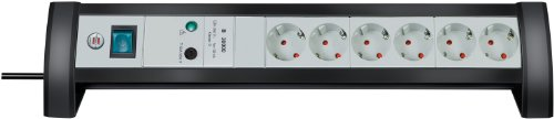 Brennenstuhl Premium-Office-Line, stekkerdoos, 6-voudig met overspanningsbeveiliging voor de tafel (3 m kabel en schakelaar), kleur: zwart