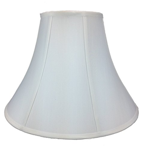 7x17x12 White Shantung Bell Shade with Brass Spider Fitter - Perfect for Table Lamps and Some Desk Lamps -Medium, White