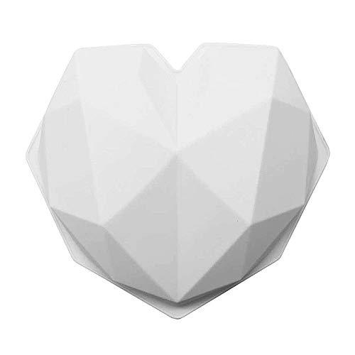 Parayung 3D Diamant Herz Silikonform, Geometrische Herz Backform, Mousse Kuchen Schokolade DIY Backwerkzeuge, Weiß