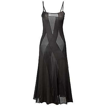 HiSexy Long Semi Sheer Maxi Dress for Women Plus Size Sexy Robe Lingerie Set 2X Large Black