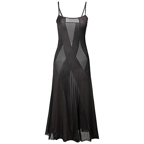 HiSexy Langes halbtransparentes Maxikleid für Damen, Übergröße, Sexy Robe Dessous-Set -  Schwarz -  XXX-Large