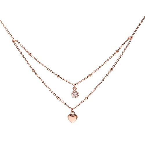 ShSnnwrl Colgante Collar de Doble Capa de Plata de Ley 925, Elegante Collar con Colgante de corazón de Estrella y Pentagrama de c