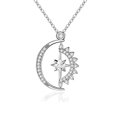 Harberd Collar de plata de ley con circonita cúbica y colgante de fase estrella de la luna creciente para mujeres y niñas, 45,7 cm plateado