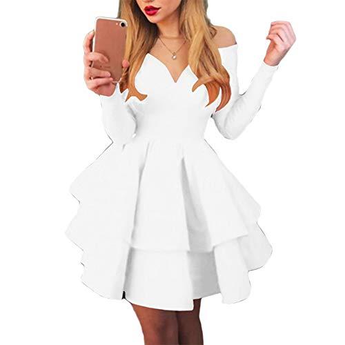 Frolada Langarm Minikleid Frauen Eleganter V-Ausschnitt Schulter Großer Schaukel Rüschensaum Fancy Party Cocktailkleid Weiß M.