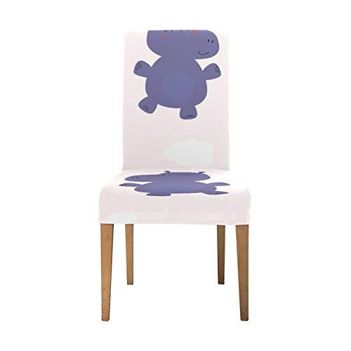 Stuhlbezug Protector Aquatic Creature Niedliche Tier Hippo Schonbezüge für Stühle Soft Stretch Sitzbezüge für Esszimmerstühle Waschbar Abnehmbare Stretch Esszimmer Stuhl Schonbezüge