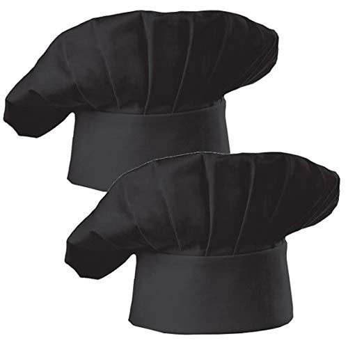 Hyzrz Chef Hat Set of 2 Pack Adult Adjustable Elastic Baker Kitchen Cooking Chef Cap, Black