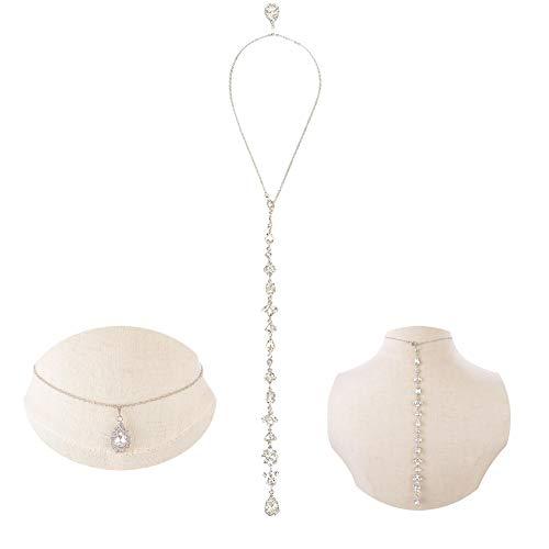LONGBLE Kristall Rückseite Halskette, Braut rückenkette Damen Exquisite Halskette Y-Kette Brautschmuck, Perlenkette Perle Hintergrund Halskette Zurück Legierung Kette Körperkette Bauchketten