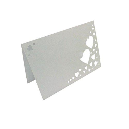ROSENICE 50pcs Blanc Coeur Carte Porte Nom Marque Place Mariage Décoration de Table