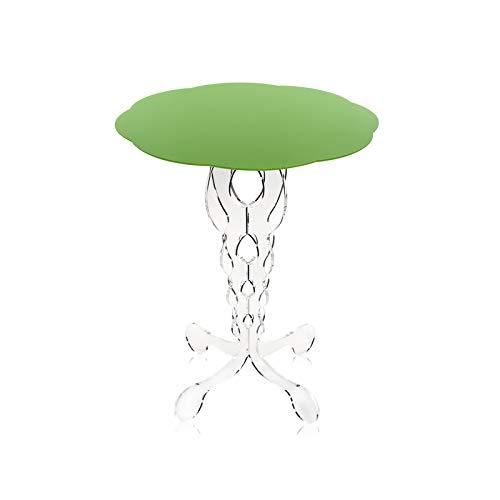 iPLEX - Tavolino da caffè Design Arabesco in plexiglass Trasparente, ripiano Verde Chiaro Tagliato al Laser, Dim. 60x50x50 cm M