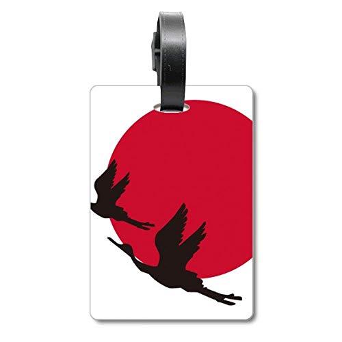 Japan Gepäckanhänger/Gepäckanhänger mit fliegenden Gänsen, Rot/Schwarz