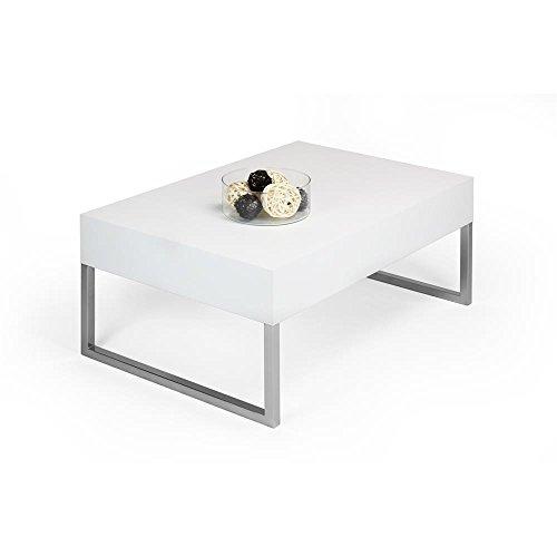 Mobilifiver Table Basse, Evo XL, Frêne Blanc, 90 x 60 x 40 cm, Mélaminé/Fer Chromé, Made in Italy