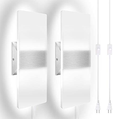 Modern LED Wall Sconce JACKYLED Set of 2 Wall Lights with 6FT Plug in Cord Acrylic LED Wall product image