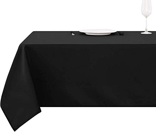 Deconovo Mantel Cuadrado para Mesa 130 x 130 cm Negro