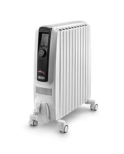 De'Longhi Radiador 2500 W, termostato de ambiente digital, pantalla LCD, función ECO y alto rendimiento energético, blanco