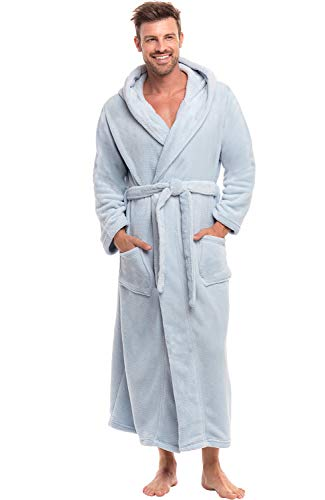 Alexander Del Rossa Men's Warm Fleece Robe with Hood, Big and Tall Bathrobe, 1XL 2XL Light Blue (A0125LBB2X)