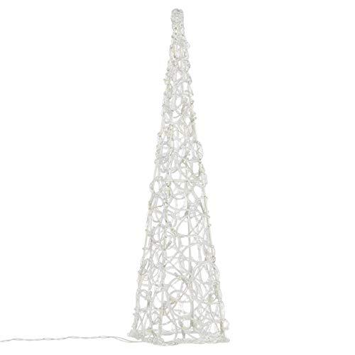 Nipach LED Pyramide Lichterkegel – Beleuchtung für Weihnachten innen außen – Acryl-Figur Batterie & Timer – 30 Leuchten weiß 60 cm hoch