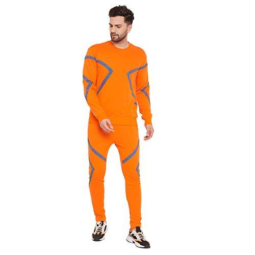 Fugazee Men's Orange Rainbow Reflective Taped Sweatshirt and Joggers Combo Tracksuit