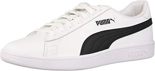 PUMA Men's Smash 2 Sneaker, White Black, 9.5 M US