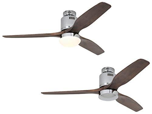 Certeo Ventilateur de plafond AERODYNAMIX - Ø hélice 1320 mm - noyer/chrome brillant - Ventilateur Ventilateur de plafond Ventilateurs Ventilateurs de plafond