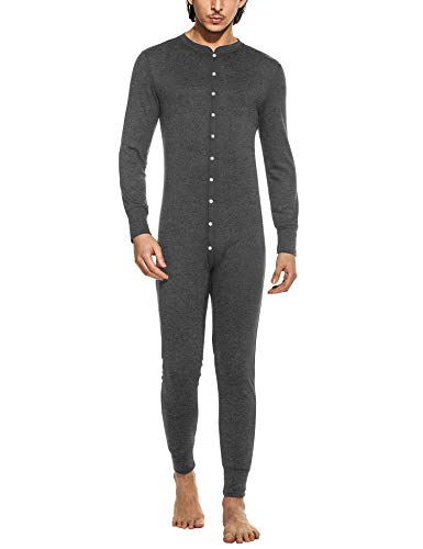 Hotouch Mens Thermal Underwear All in One Union Suit/Thermal Body Suit Dark Grey XXL