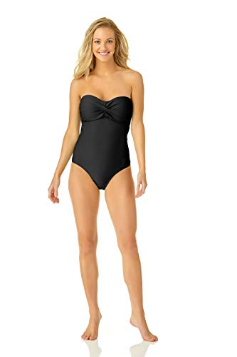 Catalina Women's Twist Front Bandeau One Piece Swimsuit, Black, Extra Large