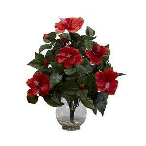 Unknown1 Fluted Vase Hibiscus Silk Flower Arrangement