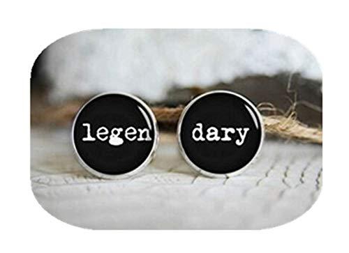 Boutons de manchette – Legendary Boutons de manchette, Cool Cadeau personnalisé pour homme, personnalisé Mariage Plaqué argent