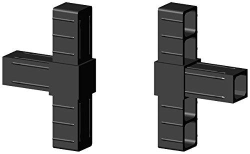T - Verbinder Kunststoff schwarz - Glasfaserverstärkt für 20x20x1,5mm Aluminiumprofil Steckverbinder für Aluminiumprofile