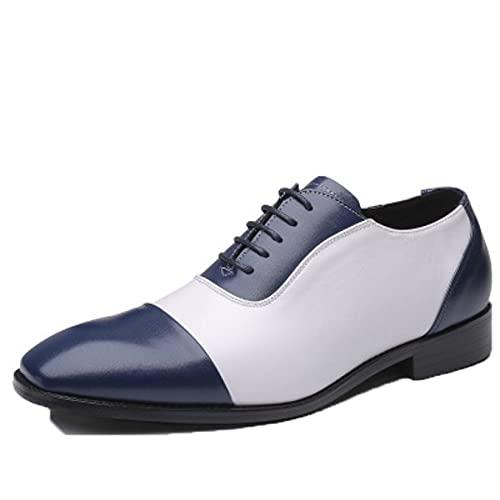 Zapatos Formales para Hombre Zapatos de Cuero con Cordones de Retazos de Moda Zapatos Oxford de Punta Cuadrada Antideslizantes Elegantes