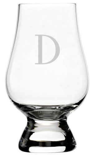 Celtic Etched Monogram Glencairn Crystal Whisky Glass (Letter D)